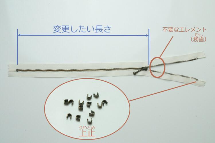 金属ファスナーの長さ調節