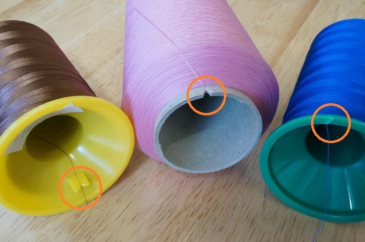 工業用ミシン糸の糸止め