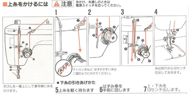 juki TL98上糸のかけ方