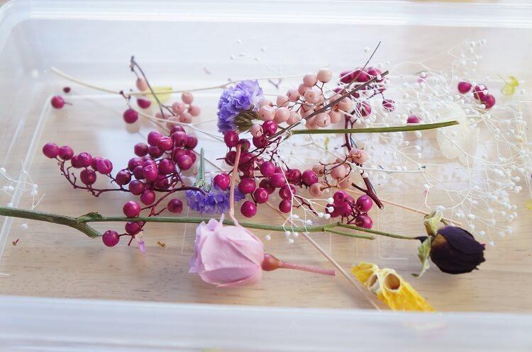 ハーバリウム講座で余った花材
