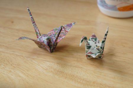 リバティ生地の折り鶴