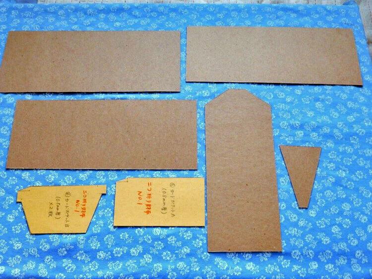 型紙作製(2つ折り財布)