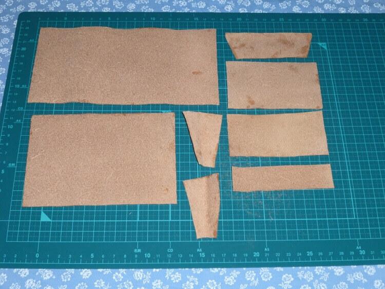 三つ折り財布の作り方(裁断)